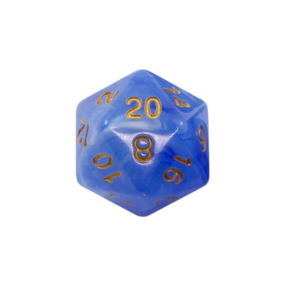 Set of 7 Pastel Blue Vapour Translucent Polyhedral Dice with Gold Numbers NZ