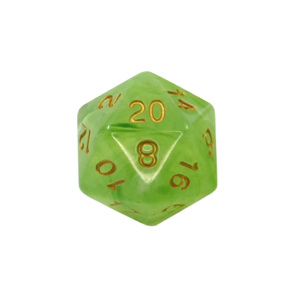 Set of 7 Pastel Green Vapour Translucent Polyhedral Dice with Gold Numbers NZ