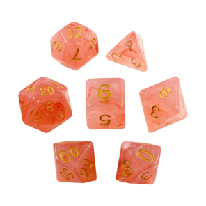 Set of 7 Pastel Red Vapour Translucent Polyhedral Dice with Gold Numbers NZ