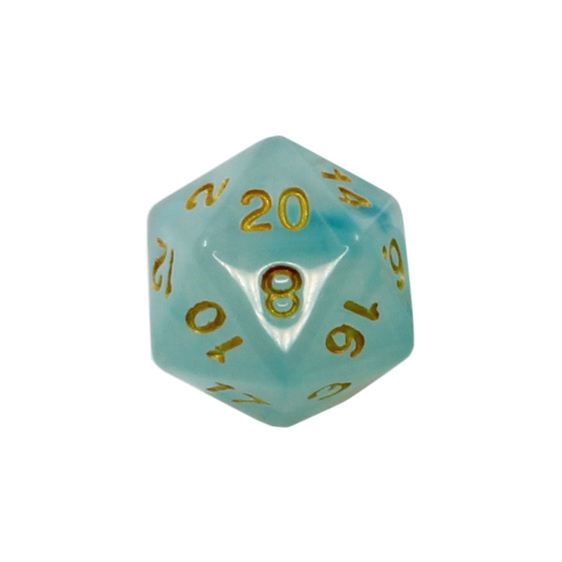 Set of 7 Pastel Sky Blue Vapour Translucent Polyhedral Dice with Gold Numbers NZ
