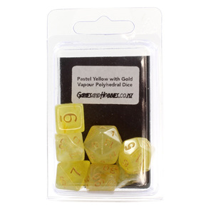 Set of 7 Pastel Yellow Vapour Translucent Polyhedral Dice with Gold Numbers NZ