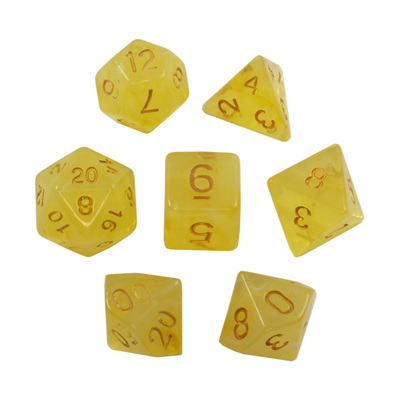7 Yellow Pastel with Gold Vapour Dice