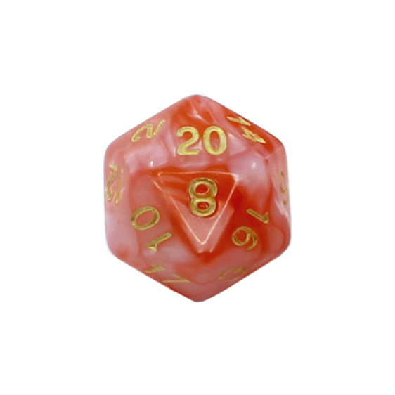 Set of 7 Pearl & Red with Gold Fusion Polyhedral Dice Games and Hobbies NZ