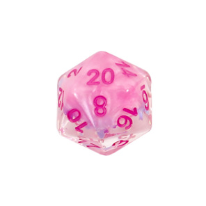 Set of 7 Pink Bows Confetti Polyhedral Dice Games and Hobbies NZ