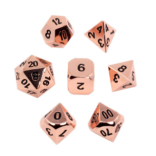 7 'Polished Copper' Metal Dice