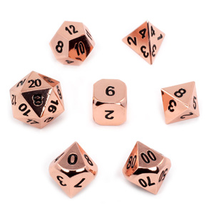 Set of 7 Polished Copper Metal Polyhedral Dice Games and Hobbies New Zealand NZ