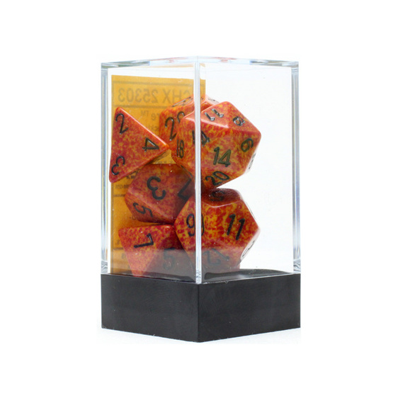 Set of 7 Polyhedral Fire Speckled Dice Games and Hobbies NZ New Zealand