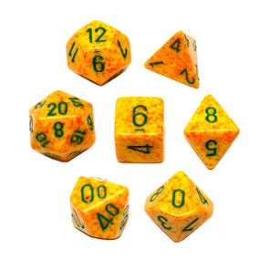 Set of 7 Polyhedral Lotus Speckled Dice Games and Hobbies NZ New Zealand