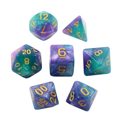 7 Purple & Teal with Gold Stardust Dice