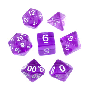 Set of 7 Purple and White Translucent Polyhedral Dice Games Hobbies New Zealand