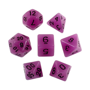 Set of 7 Purple Glow in the Dark Polyhedral Dice with Black Games and Hobbies NZ