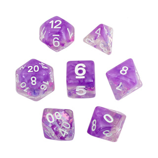 7 Purple Jigsaw Confetti Dice