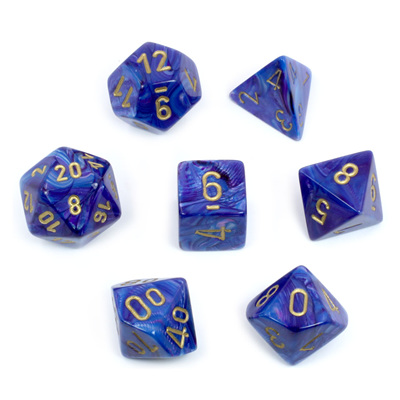 7 Purple Lustrous Polyhedral Dice with Gold Numbers