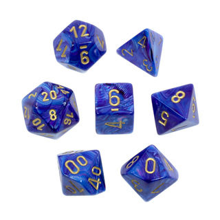 7 Purple with Gold Lustrous Dice