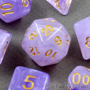 Set of 7 Purple Pastel Vapour Translucent Polyhedral Dice with Gold Numbers NZ