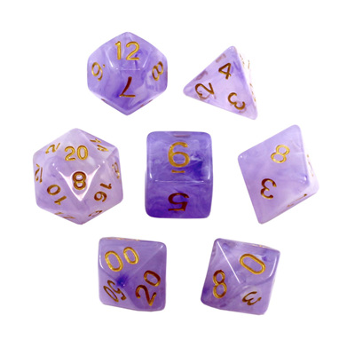 7 Purple Pastel with Gold Vapour Dice