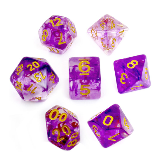 Set of 7 Purple Vapour Translucent Polyhedral Dice with Gold Numbers NZ