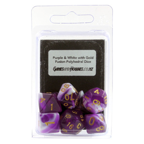 Set of 7 Purple & White Fusion Polyhedral Dice Games and Hobbies New Zealand