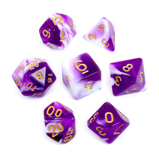 7 Purple & White with Gold Fusion Dice