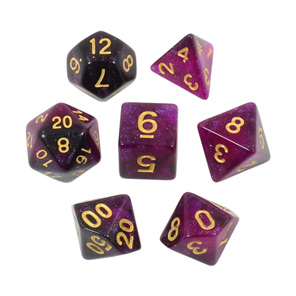 Set of 7 Purple with Gold Starlight Polyhedral Dice Games and Hobbies NZ