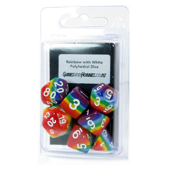 Set of 7 Rainbow Polyhedral Dice with White Numbers Games and Hobbies NZ