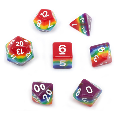 7 Rainbow Dice with White Numbers