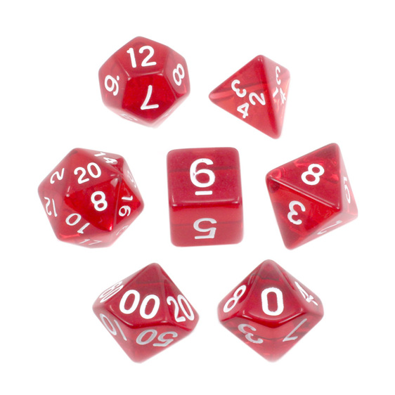 Set of 7 Red and White Translucent Polyhedral Dice Games Hobbies New Zealand