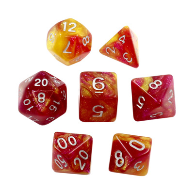 7 Red & Yellow with Silver Stardust Dice