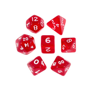7 Red with White Translucent Mini Dice