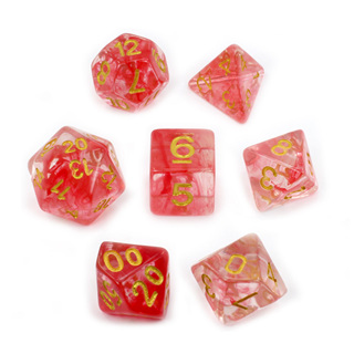 7 Red with Gold Vapour Dice