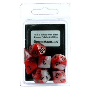 Set of 7 Red & White Fusion Polyhedral Dice Games and Hobbies New Zealand