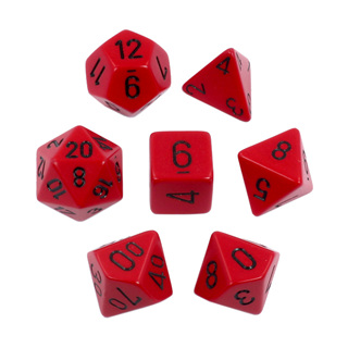7 Red with Black Opaque Dice