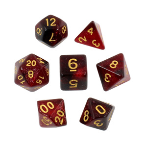 Set of 7 Red with Gold Starlight Polyhedral Dice Games and Hobbies NZ