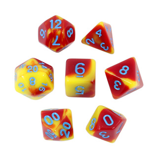 7 Red & Yellow with Blue Fusion Dice