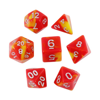7 Red & Yellow with Silver Fusion Dice