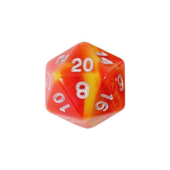 Set of 7 Red & Yellow Fusion Polyhedral Dice Games and Hobbies New Zealand