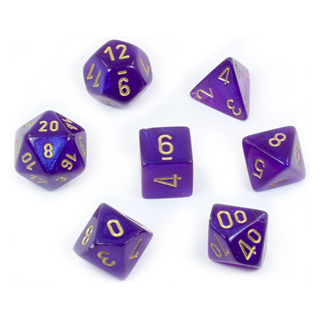7 Royal Purple Borealis Polyhedral Dice with Gold Numbers