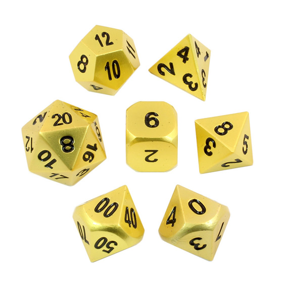 Set of 7 Satin Gold Metal Polyhedral Dice Games and Hobbies New Zealand NZ