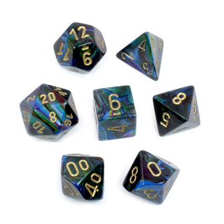 7 Shadow with Gold Lustrous Dice