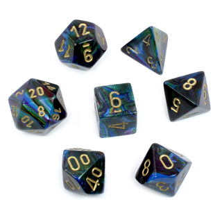 7 Shadow Lustrous Polyhedral Dice with Gold Numbers