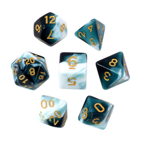 Set of 7  Shell & White Fusion Polyhedral Dice with Gold Games and Hobbies NZ