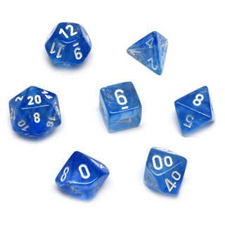 7 Sky Blue with White Borealis Dice