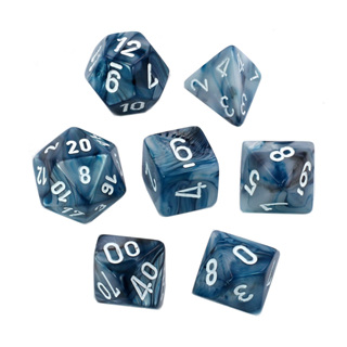 7 Slate with White Lustrous Dice