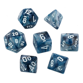 7 Slate Lustrous Polyhedral Dice with White Numbers