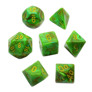 Set of 7 Slime Vortex Polyhedral Dice with Yellow Numbers Games and Hobbies NZ