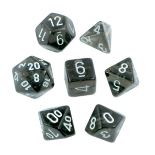 7 'Smoke' with White Translucent Dice