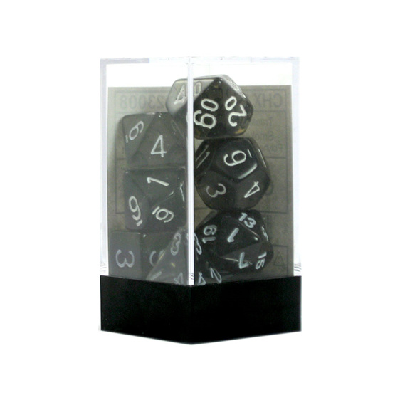 Set of 7 Smoke and White Translucent Polyhedral Dice Games and Hobbies NZ