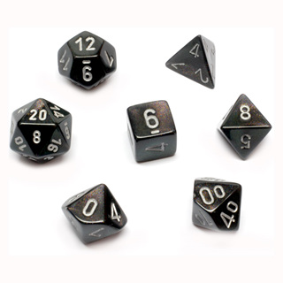 7 Smoke Borealis Polyhedral Dice with Silver Numbers