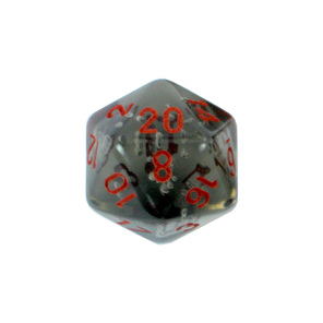 Set of 7 Smoke with Red numbers translucent Polyhedral dice Games and Hobbies NZ
