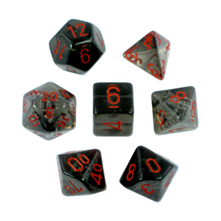 7 'Smoke' with Red Translucent Dice